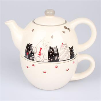 Teapot with a cup of cats
